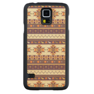 Colorful aztec pattern carved maple galaxy s5 case