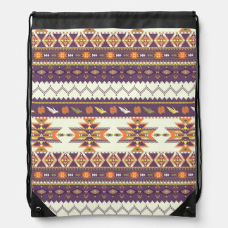 Colorful aztec pattern drawstring bag