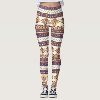 Colorful aztec pattern leggings