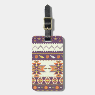 Colorful aztec pattern luggage tag
