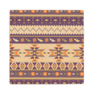 Colorful aztec pattern wood coaster