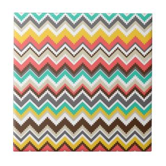 Colorful Aztec Tribal Chevron ZigZag Stripes Small Square Tile