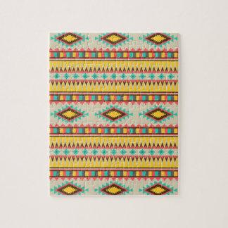Colorful Aztec Tribal Native American Diamonds Jigsaw Puzzle