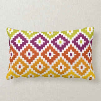 Colorful Aztec Tribal Print Ikat Diamond Pattern Lumbar Cushion