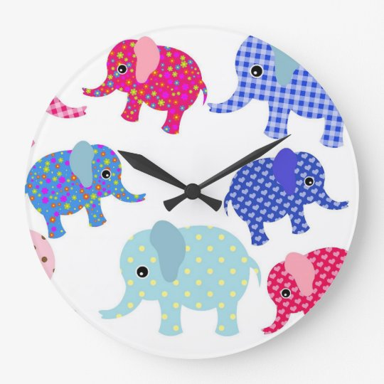 Colorful Babies Elephants Round (Large) Wall Clock
