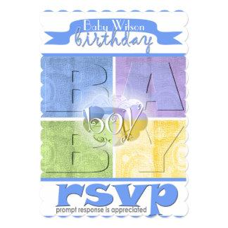Colorful Baby Boy Birthday Invitation
