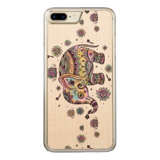 Colorful Baby Elephant Illustration Carved iPhone 8 Plus/7 Plus Case