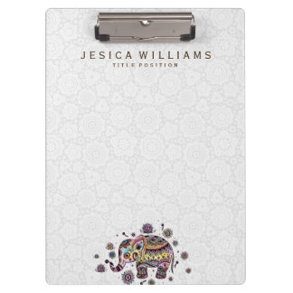 Colorful Baby Elephant Illustration Clipboard