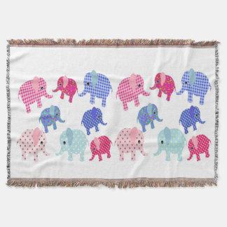 Colorful Baby Elephants Blanket Throw