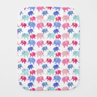 Colorful Baby Elephants Burp Cloth