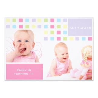 Colorful Baby First Birthday Photo 13 Cm X 18 Cm Invitation Card