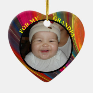 Colorful Baby Photo Gift Tag Ornament for Grandpa