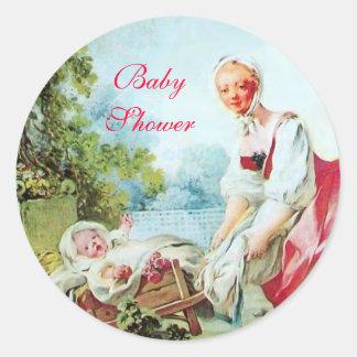 COLORFUL BABY SHOWER ROUND STICKER