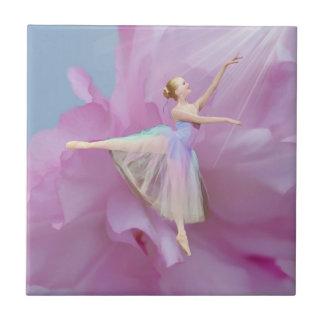 Colorful Ballerina in Arabesque Customizable Small Square Tile