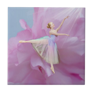 Colorful Ballerina in Arabesque Customizable Tile