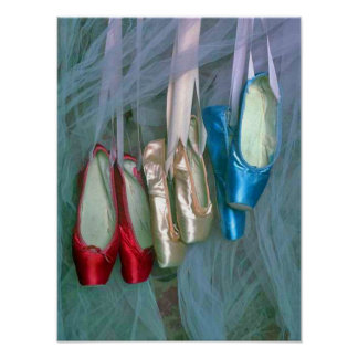 Colorful Ballet Shoes Poster