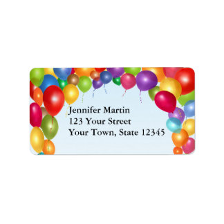 Colorful Balloon Arch Label