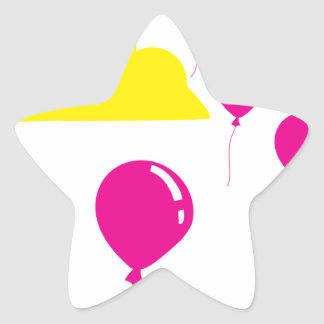 Colorful Balloons and Clouds Star Sticker