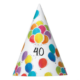 Colorful Balloons Birthday Party Hat Add Age