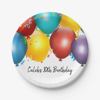 Colorful Balloons & Confetti Birthday Party Paper Plate