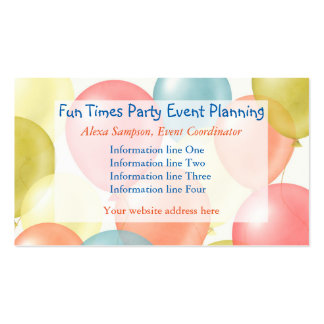 Colorful Balloons Event Planning Pack Of Standard Business Cards