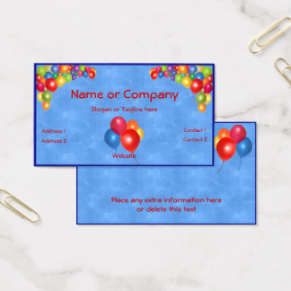 Colorful Balloons on Blue Business Card
