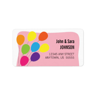 Colorful Balloons Pink Background Address Label