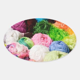 Colorful Balls of Yarn Oval Sticker
