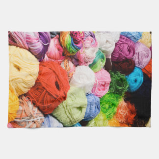 Colorful Balls of Yarn Tea Towel