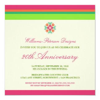 """Colorful Bands Corporate Event Invitation (fuchsia 5.25"""" Square Invitation Card"""