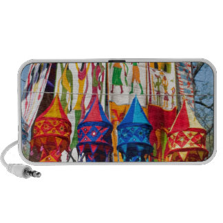 Colorful banners travelling speaker