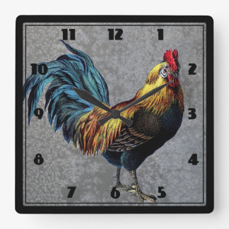 Colorful Bantam Rooster Square Wall Clock