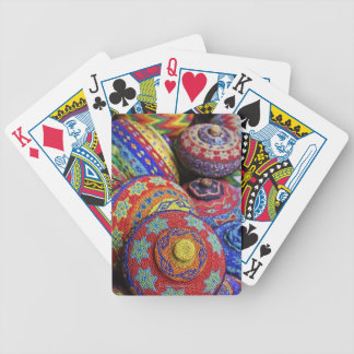 Colorful baskets made from colored plastic beads poker deck