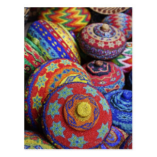Colorful baskets made from colored plastic beads postcard