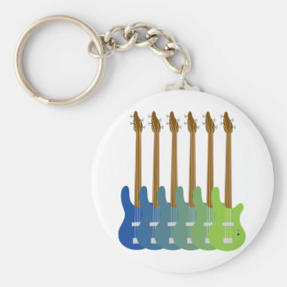 Colorful Bass Guitars Basic Round Button Key Ring