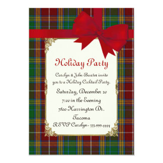 Colorful Baxter Tartan Plaid Custom Holiday Party 13 Cm X 18 Cm Invitation Card