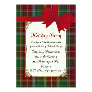 Colorful Baxter Tartan Plaid Custom Holiday Party Card