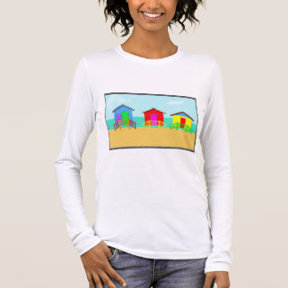 Colorful Beach Cabanas at the Shoreline Long Sleeve T-Shirt