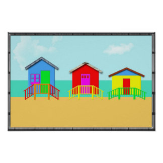 Colorful Beach Cabanas at the Shoreline Poster