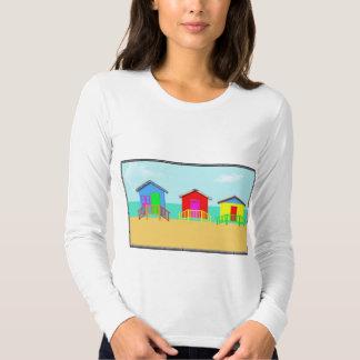 Colorful Beach Cabanas at the Shoreline Shirts