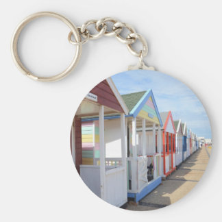 Colorful Beach Huts Basic Round Button Key Ring