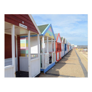 Colorful Beach Huts Postcard