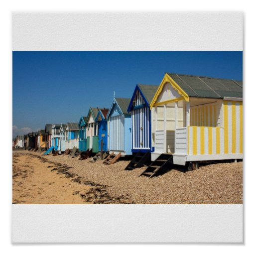 Colorful Beach Huts Posters