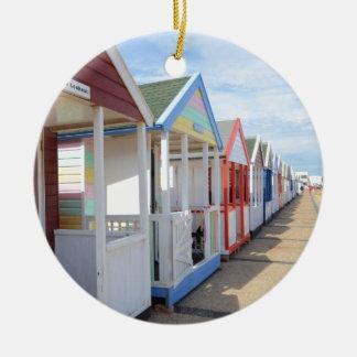 Colorful Beach Huts Round Ceramic Decoration
