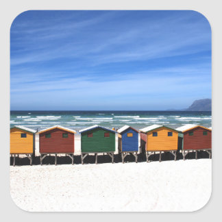 Colorful Beach Huts Square Stickers