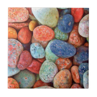 Colorful Beach Pebbles Smooth Stones Rocks Pattern Tile