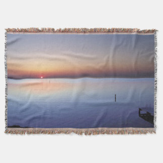 Colorful Beach Sunset Throw Blanket