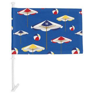 Colorful Beach Umbrella and Beach Ball Custom Car Flag