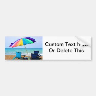 Colorful beach umbrella and chairs in Florida Bumper Sticker