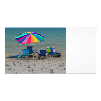 colorful beach umbrella chairs Florida scene Photo Greeting Card